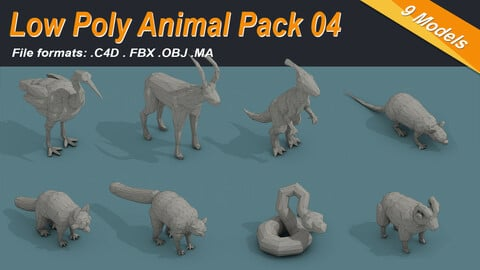 Low Poly Animal Isometric Icon Pack 04
