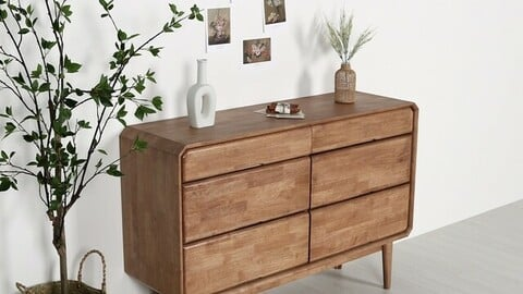 Rain solid wood 3-tier wide dressing table