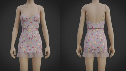 3D Crop Top Cami and Mini Skirt dress - two piece summer outfit