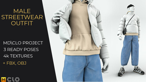 Male streetwear outfit. Clo3d, Marvelous designer project \ OBJ FBX \ 3 ready poses