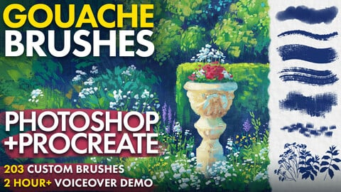 Hand-painted Gouache Brushes for Photoshop and Procreate