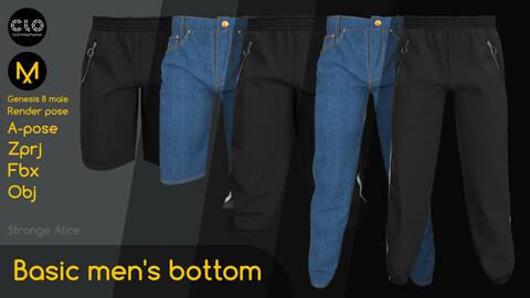 Basic men's bottom. Clo3d, Marvelous Designer projects.