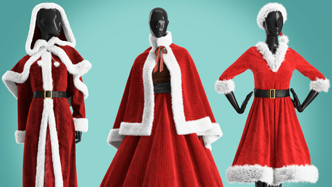 set of womens Christmas dresses on mannequins