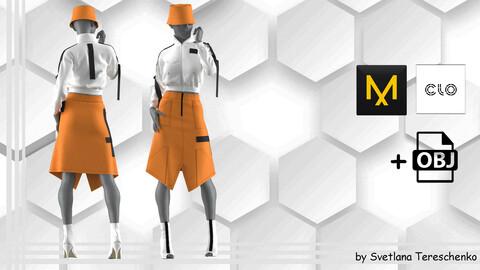 Women's outfit. Set orange-white. Bomber+Skirt+Panama+Shoes