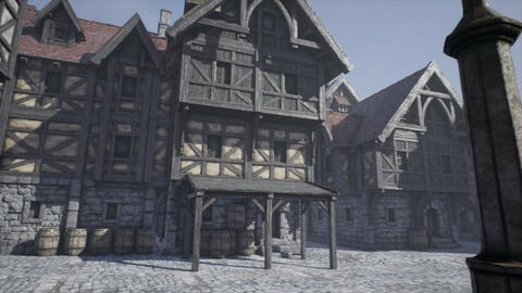 Low Poly Medieval Modular Houses
