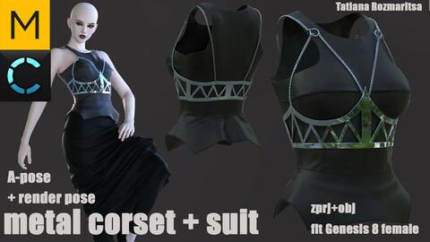 metal corset + grunge suit