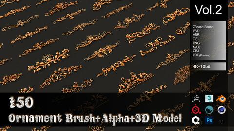 150 Ornament Brush + Alpha + 3D Model