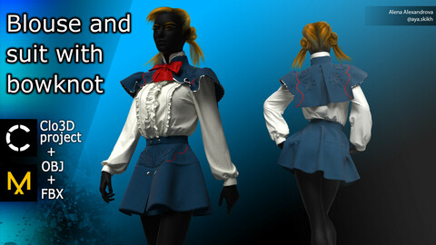 Blouse and suit with bowknot. Clo3D project, MD.
