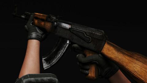 AK47 RUSTY [Game Ready] [OBJ + BLEND + TEXTURES]