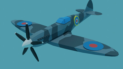 Spitfire Plane Game Assets Low Poly