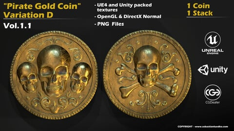 Pirate Gold Coin and Stack - Variant D