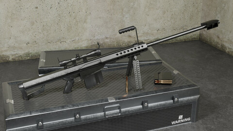 M82 Barrett Game Ready 5 Textures Low-poly 3D model Low-poly 3D model