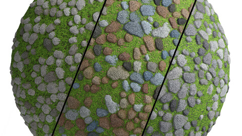 Grass Stone Materials1- By 3 color, Pbr By Sbsar, 4k