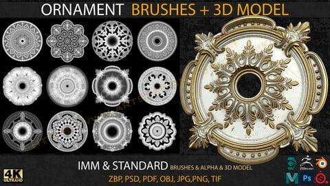 Ornament IMM & Standard Brushes+3D model+ Alpha 4K (V.03)