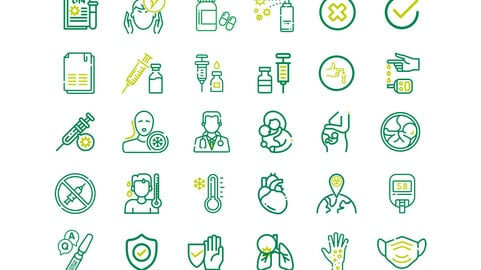 Set of Coronavirus Outline Icons, Covid-19 Icons