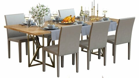 3D Model / Table Set with Food 01 / Crate&Barrel Furniture / White lilies / Roasted Chicken / Tableware