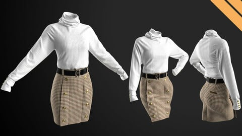 Ladies Outfit Sweater with Pencil skirt in Marvelous Designer