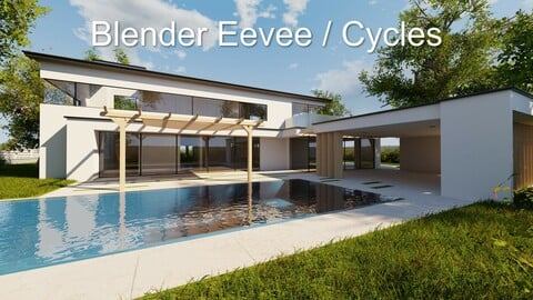 Modern villa 2021 Blender Eevee and Cycles 1 (without furniture)