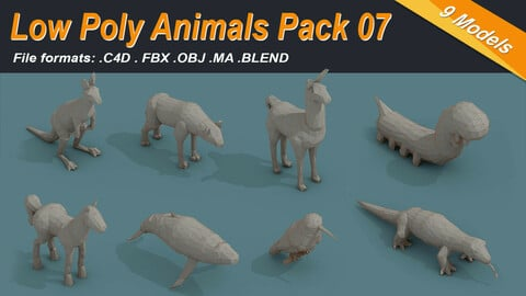 Low Poly 3d Art Animals Isometric Icon Pack 07