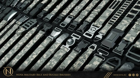 Zbrush | 133 Military Belt And Buckle Brushes