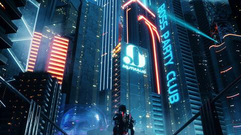 C4D Octane render Cyberpunk city Batman Gotham City CBD Skyscrapers
