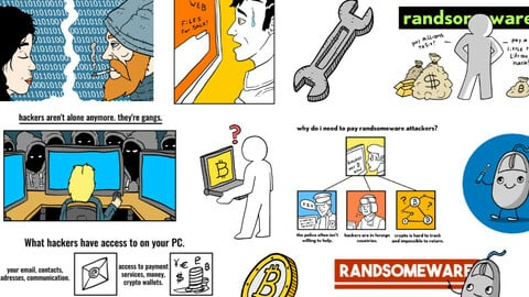 12 Ransomware / hacking cartoons, logo's and illustrations. in uncompressed JPEG.