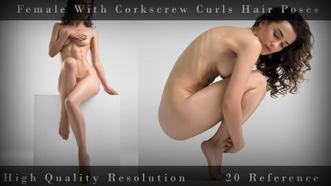 Female With Corkscrew Curls Hair Poses