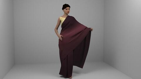 Animated Indian Fashion Saree Drape with Model