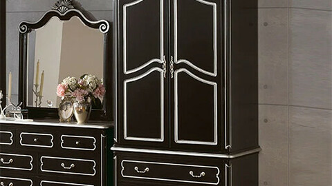 Rosen Black Mahogany Solid Wood Antique Furniture Closet