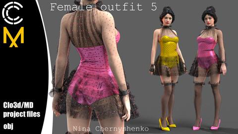 Female outfit 5. Marvelous Designer/Clo3d project + OBJ.