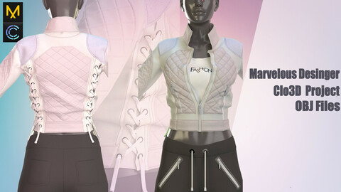 white jacket and pants (MD/Clo3D project + OBJ Files)