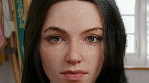 3D Realistic Female Head - Blender 2.9 | Head | eyes | Hair