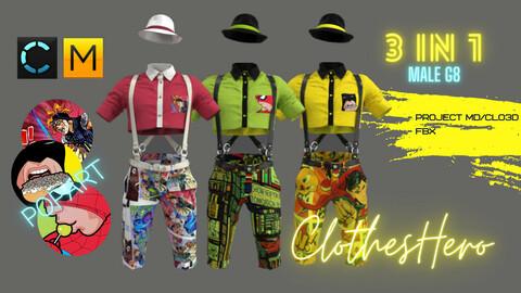 PopArt Male 3 in 1 (shirt + shorts + belts+hat).