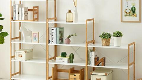 Wide wooden storage shelf