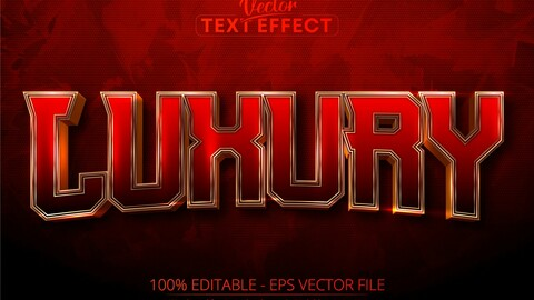Luxury text, shiny gold editable text effect on dark red textured background