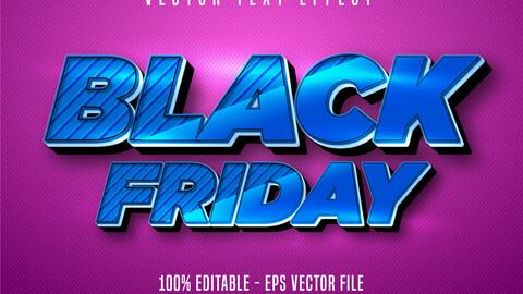 Black Friday text, cartoon style editable text effect