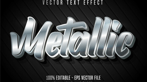 Metallic text, shiny silver color style editable text effect