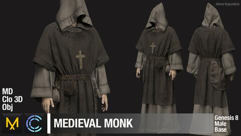Medieval monk / Marvelous Designer / Clo 3D project + obj