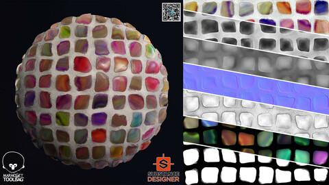 Stylized Fancy Cobblestone | PBR | 4K | PNG | SBSAR | 2 Variation