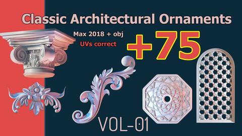 +75 Classic Architectural Ornaments 3d model object kitbash - (VOL-01)