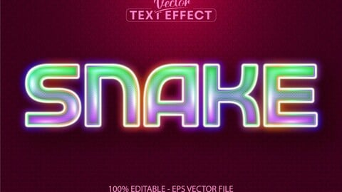 Snake text, neon style editable text effect