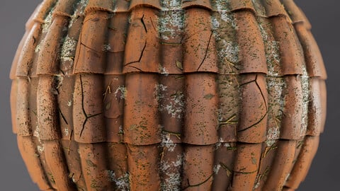 PBR - CLAY TILE ROOF, DIRTY AND BROKEN - 4K MATERIAL