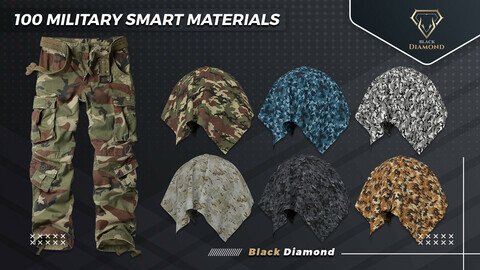 100 Military Fabric Smart Materials with high details