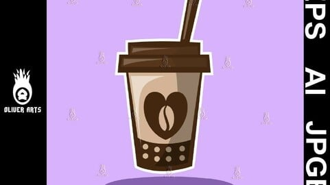 Coffee Cup with heart and coffee bean.