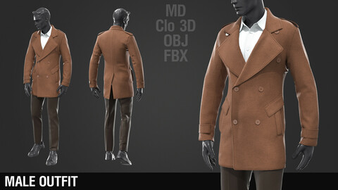 Men's coat / Marvelous Designer / Clo 3D project + obj + fbx