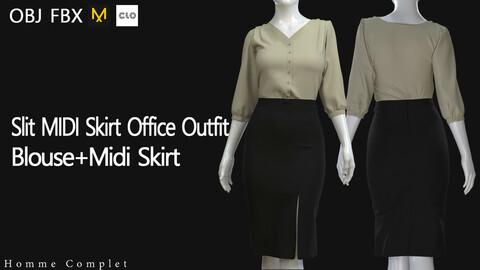 Women's Slit MIDI Skirt Office Outfit