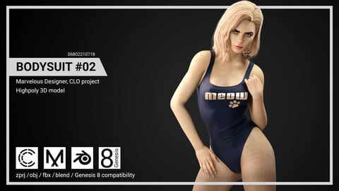 Female Bodysuit #2 - Marvelous Designer, CLO project.