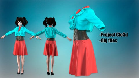A skirt with a corset and a blouse jabo