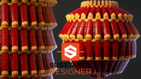 Stylized Asian Roof Tiles - Substance Designer