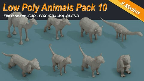 Low Poly 3d Art Animals Isometric Icon Pack 10